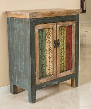 Leo Solid Wood 2 Door Cabinet In Antique Weathered Multi Color Style 0 300x360
