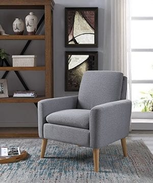 Lohoms Modern Accent Fabric Chair Single Sofa Comfy Upholstered Arm Chair Living Room Furniture Grey 0 300x360