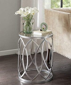Madison Park Arlo Accent Tables Glass Metal Side Table Silver Geometric Pattern Modern Style End Tables 1 Piece Glass Top Hollow Round Small Tables For Living Room 0 0 300x360