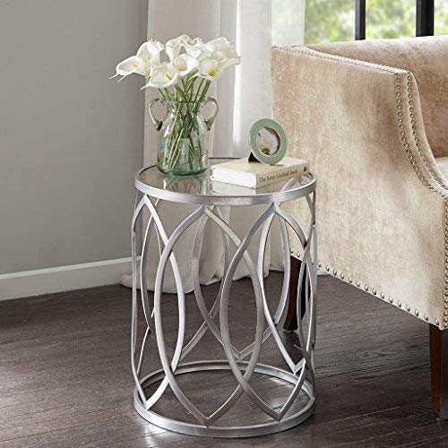 Madison Park Arlo Accent Tables Glass Metal Side Table Silver Geometric Pattern Modern Style End Tables 1 Piece Glass Top Hollow Round Small Tables For Living Room 0 0