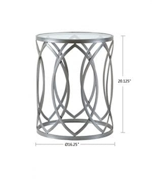 Madison Park Arlo Accent Tables Glass Metal Side Table Silver Geometric Pattern Modern Style End Tables 1 Piece Glass Top Hollow Round Small Tables For Living Room 0 1 300x360