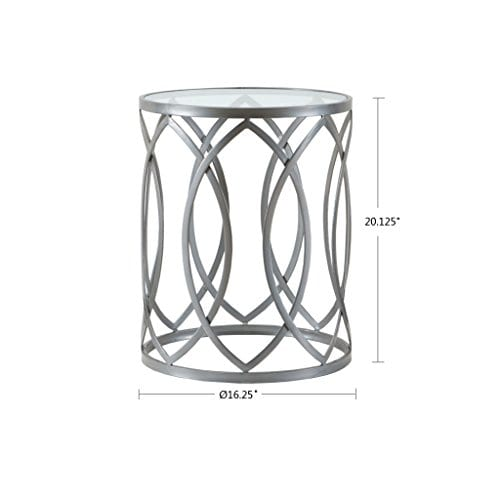Madison Park Arlo Accent Tables Glass Metal Side Table Silver Geometric Pattern Modern Style End Tables 1 Piece Glass Top Hollow Round Small Tables For Living Room 0 1
