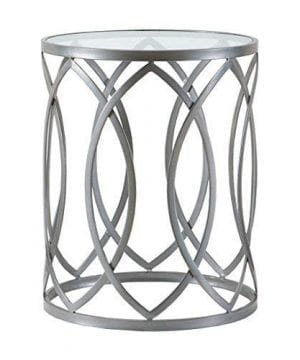 Madison Park Arlo Accent Tables Glass Metal Side Table Silver Geometric Pattern Modern Style End Tables 1 Piece Glass Top Hollow Round Small Tables For Living Room 0 300x360