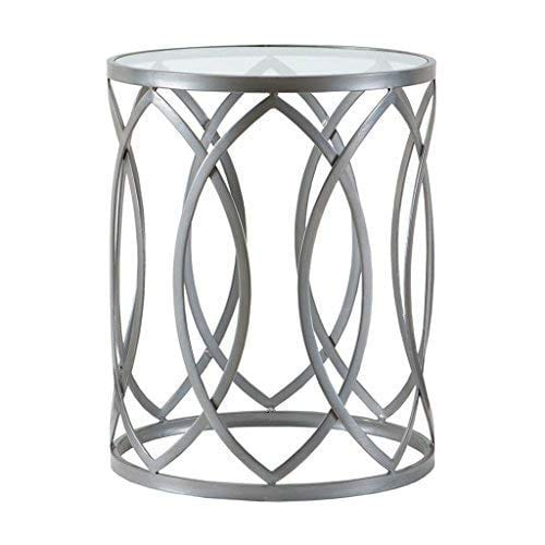 Madison Park Arlo Accent Tables Glass Metal Side Table Silver Geometric Pattern Modern Style End Tables 1 Piece Glass Top Hollow Round Small Tables For Living Room 0
