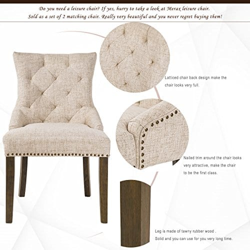 Merax Dining Chair Leisure Padded Chair With Armrest Nailed Trim Beige Set Of 2WF010762AAA 0 0