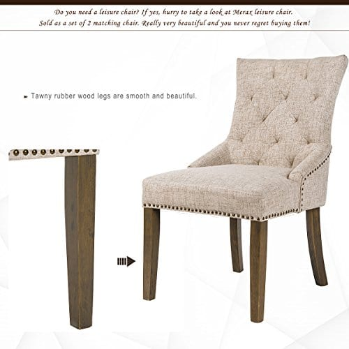 Merax Dining Chair Leisure Padded Chair With Armrest Nailed Trim Beige Set Of 2WF010762AAA 0 3