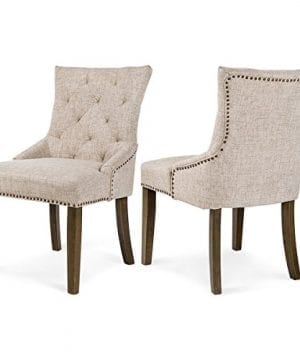 Merax Dining Chair Leisure Padded Chair With Armrest Nailed Trim Beige Set Of 2WF010762AAA 0 300x360