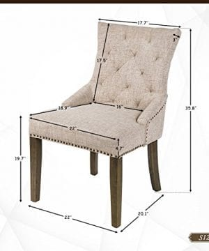 Merax Dining Chair Leisure Padded Chair With Armrest Nailed Trim Beige Set Of 2WF010762AAA 0 4 300x360