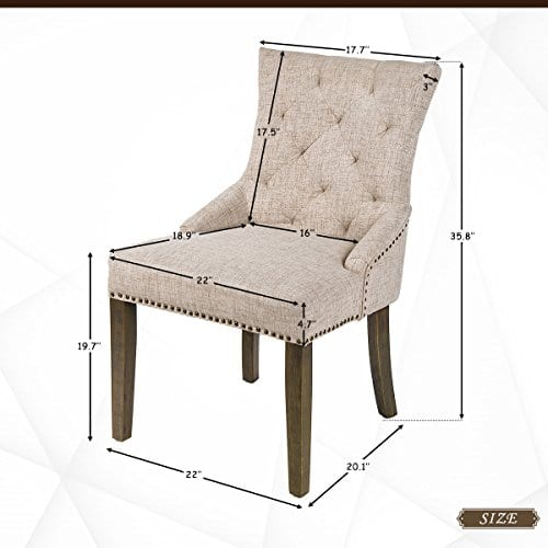 Merax Dining Chair Leisure Padded Chair With Armrest Nailed Trim Beige Set Of 2WF010762AAA 0 4