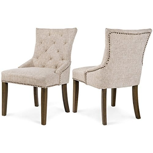 Merax Dining Chair Leisure Padded Chair With Armrest Nailed Trim Beige Set Of 2WF010762AAA 0