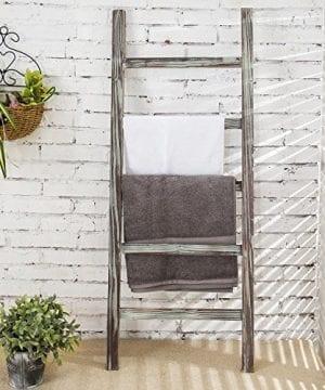 MyGift 4 Foot Decorative Rustic Barnwood 5 Rung Blanket Ladder Organizer Hanging Towel Bar Rack 0 300x360