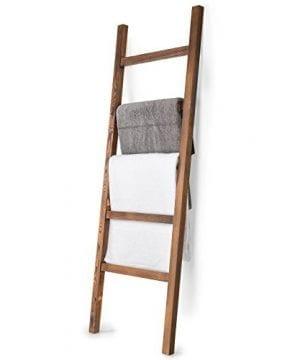 MyGift 45 Foot Brown Wood Decorative Blanket Storage Ladder 0 300x360