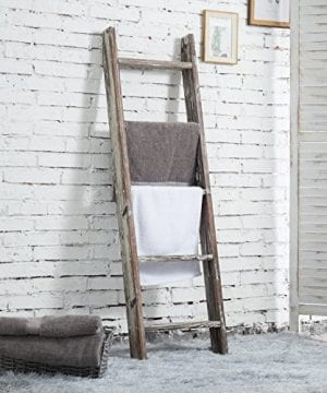 MyGift 45 Foot Wall Leaning Ladder Style Torched Wood Blanket Rack 0 0 300x360