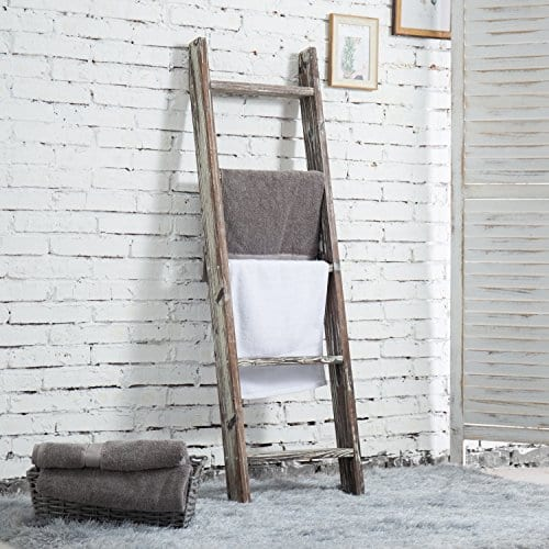 MyGift 45 Foot Wall Leaning Ladder Style Torched Wood Blanket Rack 0 0
