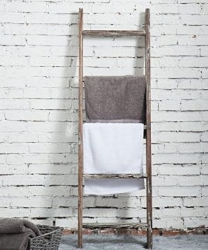 MyGift 45 Foot Wall Leaning Ladder Style Torched Wood Blanket Rack 0 1 300x360