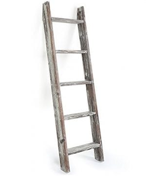 MyGift 45 Foot Wall Leaning Ladder Style Torched Wood Blanket Rack 0 2 300x360