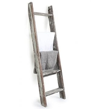 MyGift 45 Foot Wall Leaning Ladder Style Torched Wood Blanket Rack 0 300x360
