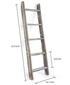 MyGift 45 Foot Wall Leaning Ladder Style Torched Wood Blanket Rack 0 4 300x360