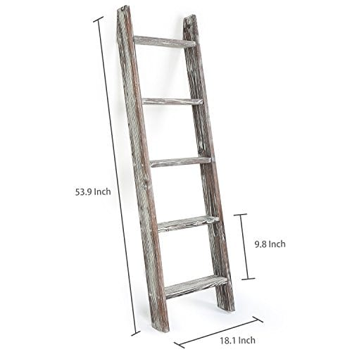 MyGift 45 Foot Wall Leaning Ladder Style Torched Wood Blanket Rack 0 4