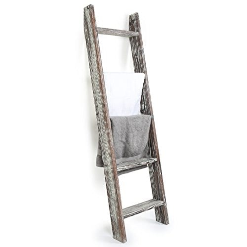 MyGift 45 Foot Wall Leaning Ladder Style Torched Wood Blanket Rack 0
