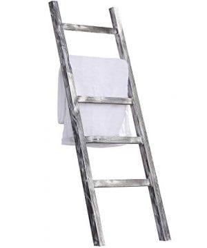 MyGift 45 Foot Weathered Wood Decorative Blanket Storage Ladder 0 300x360