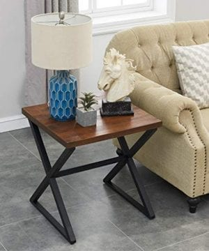 OK Furniture Farmhouse Accent End Side Table Industrial Nightstand With X Shaped Metal Frame For Bedroom And Living Room Brown 1 Pcs 0 0 300x360