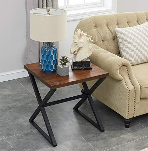 OK Furniture Farmhouse Accent End Side Table Industrial Nightstand With X Shaped Metal Frame For Bedroom And Living Room Brown 1 Pcs 0 0