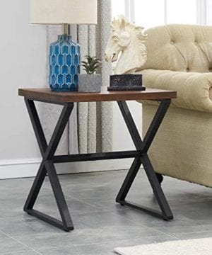 OK Furniture Farmhouse Accent End Side Table Industrial Nightstand With X Shaped Metal Frame For Bedroom And Living Room Brown 1 Pcs 0 300x360