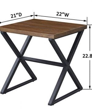OK Furniture Farmhouse Accent End Side Table Industrial Nightstand With X Shaped Metal Frame For Bedroom And Living Room Brown 1 Pcs 0 4 300x360
