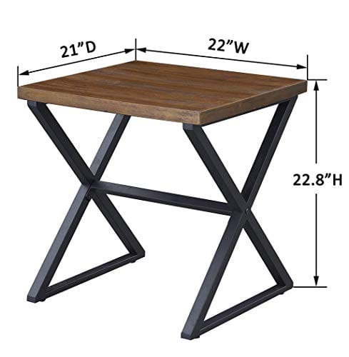 OK Furniture Farmhouse Accent End Side Table Industrial Nightstand With X Shaped Metal Frame For Bedroom And Living Room Brown 1 Pcs 0 4