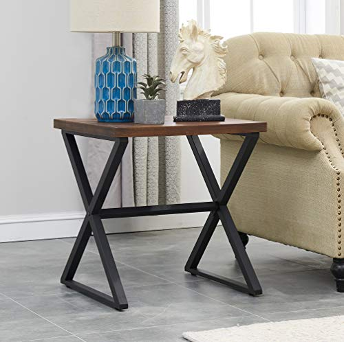 OK Furniture Farmhouse Accent End Side Table Industrial Nightstand With X Shaped Metal Frame For Bedroom And Living Room Brown 1 Pcs 0