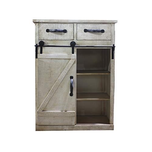 Paris Loft Rustic White Disstressed Wood Storage Cabinet Sliding Barn Door Vintage Farmhouse Wood Storage Console Cabinet Kitchen32 H 0 0