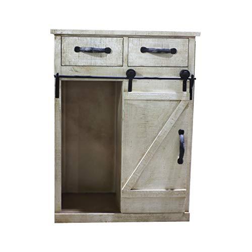 Paris Loft Rustic White Disstressed Wood Storage Cabinet Sliding Barn Door Vintage Farmhouse Wood Storage Console Cabinet Kitchen32 H 0 2