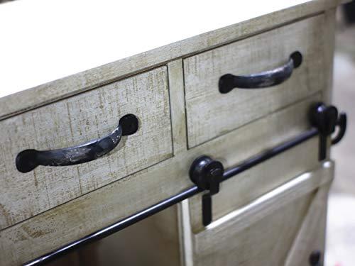 Paris Loft Rustic White Disstressed Wood Storage Cabinet Sliding Barn Door Vintage Farmhouse Wood Storage Console Cabinet Kitchen32 H 0 3