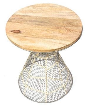 Red Fig Home Accent End Table Metal Wire Decorative Side Table With Zinc Gold Finish And Wooden Top For Bedside Living Room Entryway Hallway 0 0 300x360