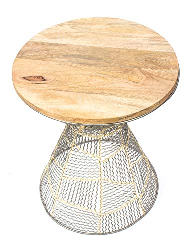 Red Fig Home Accent End Table Metal Wire Decorative Side Table With Zinc Gold Finish And Wooden Top For Bedside Living Room Entryway Hallway 0 0