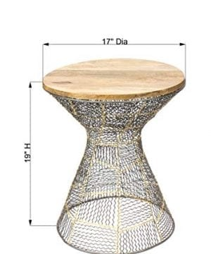 Red Fig Home Accent End Table Metal Wire Decorative Side Table With Zinc Gold Finish And Wooden Top For Bedside Living Room Entryway Hallway 0 1 300x360