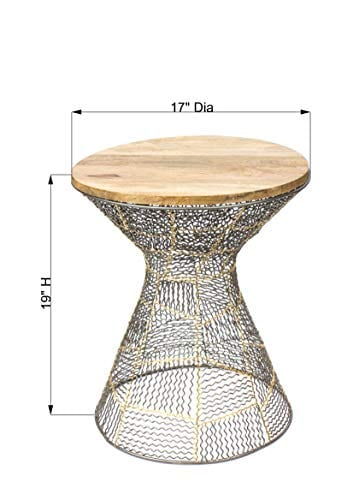 Red Fig Home Accent End Table Metal Wire Decorative Side Table With Zinc Gold Finish And Wooden Top For Bedside Living Room Entryway Hallway 0 1