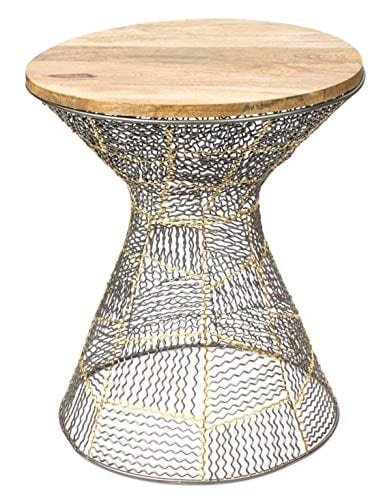 Red Fig Home Accent End Table Metal Wire Decorative Side Table With Zinc Gold Finish And Wooden Top For Bedside Living Room Entryway Hallway 0