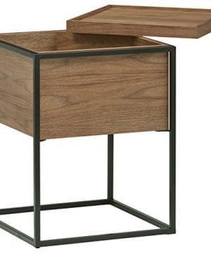 Rivet Axel Lid Storage Wood And Metal Side Table Walnut 0 0 300x360