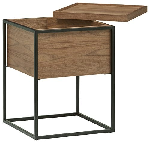 Rivet Axel Lid Storage Wood And Metal Side Table Walnut 0 0