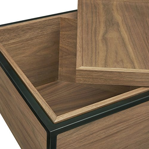 Rivet Axel Lid Storage Wood And Metal Side Table Walnut 0 1