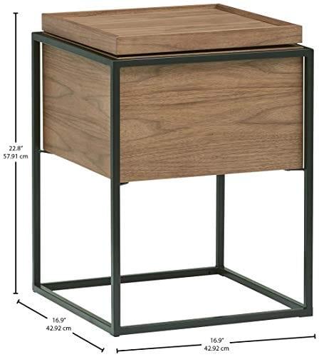 Rivet Axel Lid Storage Wood And Metal Side Table Walnut 0 2