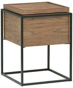 Rivet Axel Lid Storage Wood And Metal Side Table Walnut 0 300x360