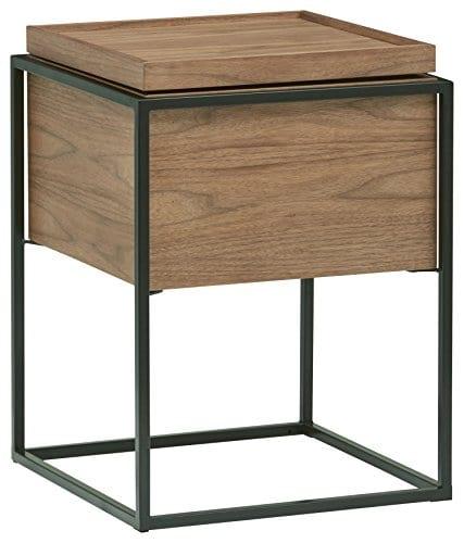 Rivet Axel Lid Storage Wood And Metal Side Table Walnut 0