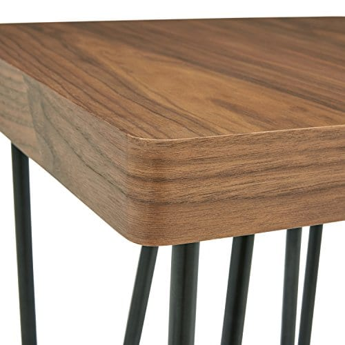Rivet Hairpin Wood And Metal End Table Walnut And Black 0 0