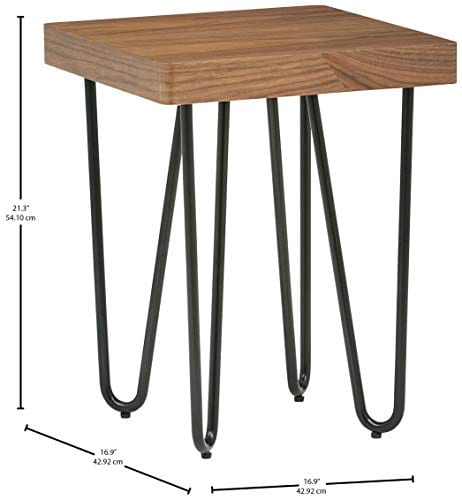 Rivet Hairpin Wood And Metal End Table Walnut And Black 0 1
