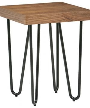 Rivet Hairpin Wood And Metal End Table Walnut And Black 0 300x360