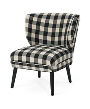 Roger Modern Farmhouse Accent Chair Black Checkerboard 0 300x360