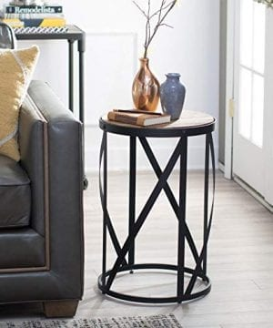Rustic Industrial Modern Farmhouse Natural Reclaimed Wood Black Metal Round End Table Side Table Accent Table Owen Collection 0 0 300x360